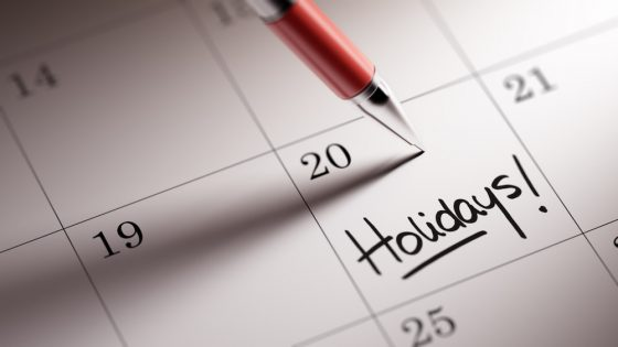 Summer holidays marked on a calendar
