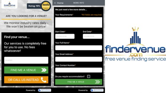 FinderVenue app on iOS