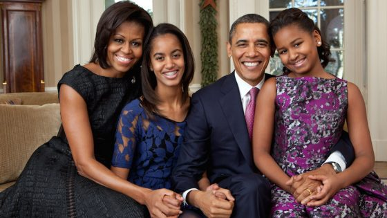 Michelle Obama with her family