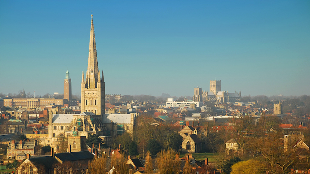 Norwich has been named one of the happiest cities to work in the UK