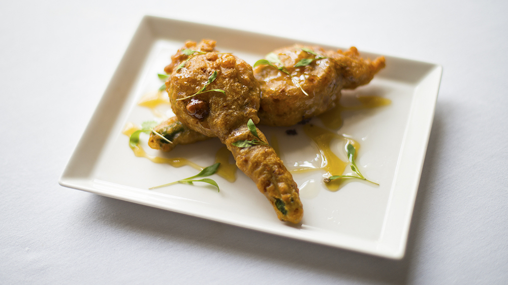 A crispy stuffed courgette flower from Tapas 37