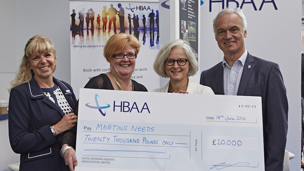 HBAA presents a cheque to Meeting Needs