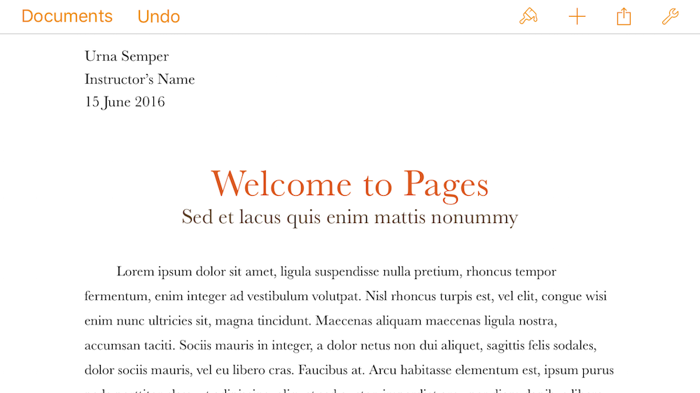 An example of a document on Pages