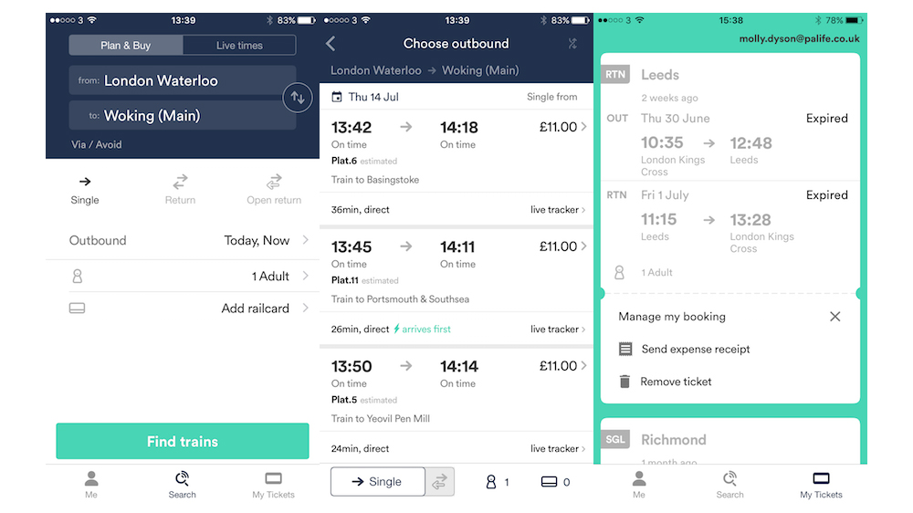 An example of the Trainline app