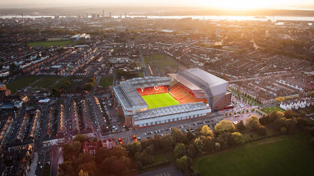Aerial view of Liverpool FC at Anfield