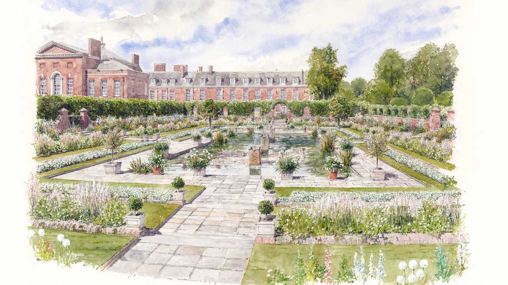 Concept drawing of the White Garden at Kensington Palace to celebrate the life of Diana