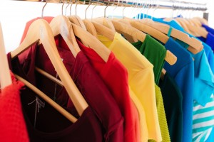 Clothing on a rack, very colourful