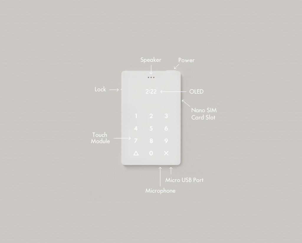 diagram showing different parts of the light phone