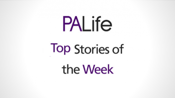 Image shows a sign saying top stories of the week
