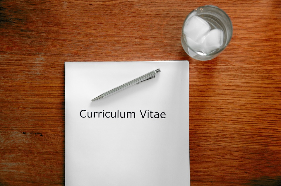 CV on a table with a pen