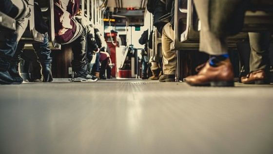 Commuters all sat on a bus