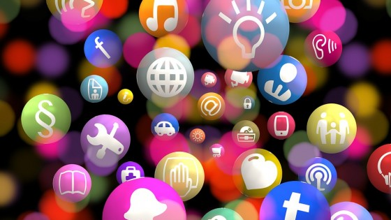 Pictures showing a lot of phone apps in bubbles