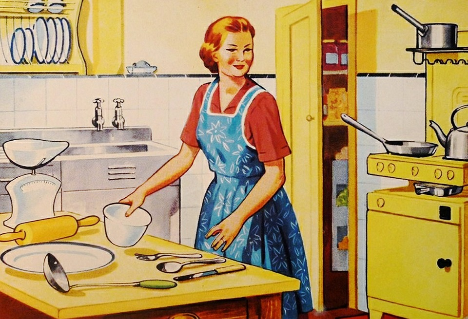 Image of a 1950 housewife in a comic book