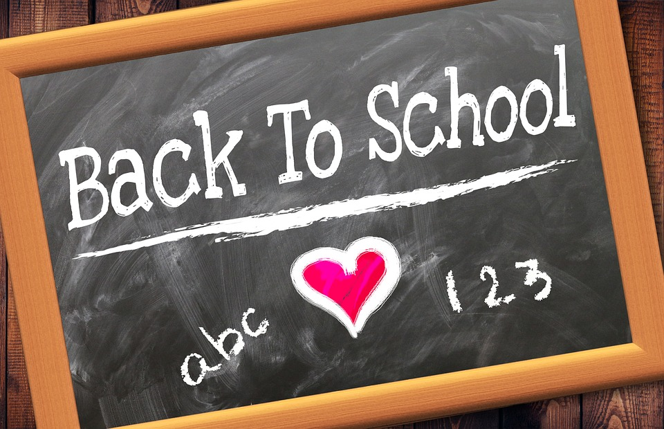 Back to school on a chalkboard