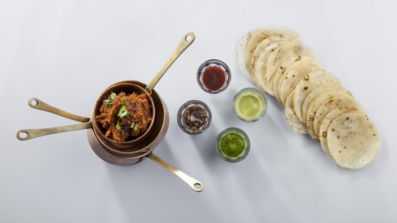 ghee roast lamb, roomali roti pancakes, chutneys(2)