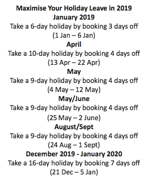 Days off in 2019