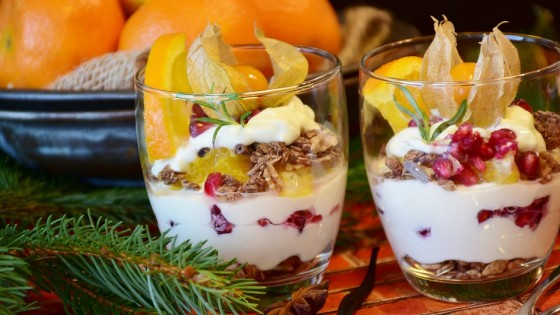 Two glasses with fruit and yoghut