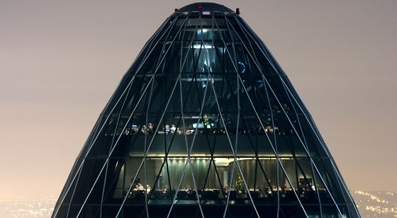 A picture of the outside of the iconic London Gherkin, showing the floors on which Searcys operate